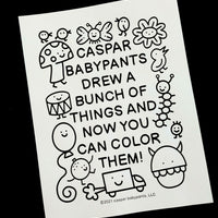 Caspar Drew a Bunch of Things Coloring Packet