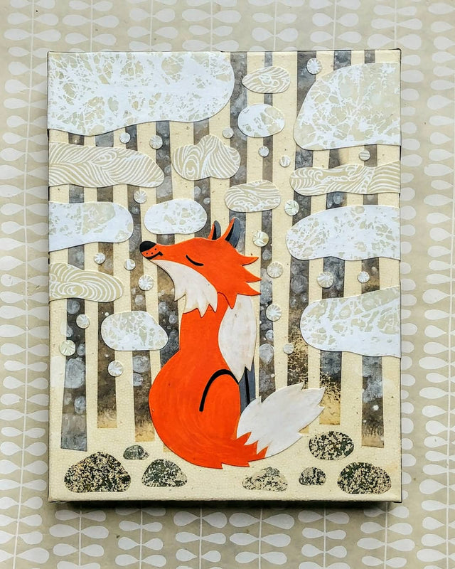 "Fox In Winter 11x14"" Original Collage"