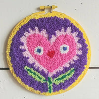 "Flower Power Love 6"" Punch Needle Embroidery"
