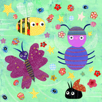 "Buzzy Busy Bugs 8x8"" Original Collage"
