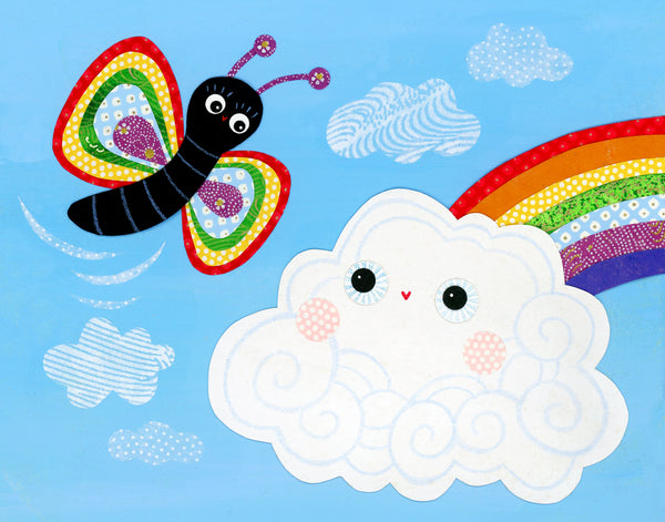 Rainbow Butterfly Meets Rainbow Cloud Print
