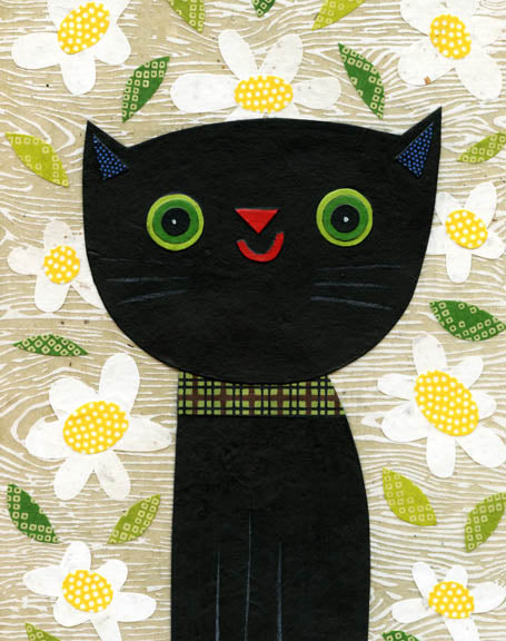 Cat And Daisies Print