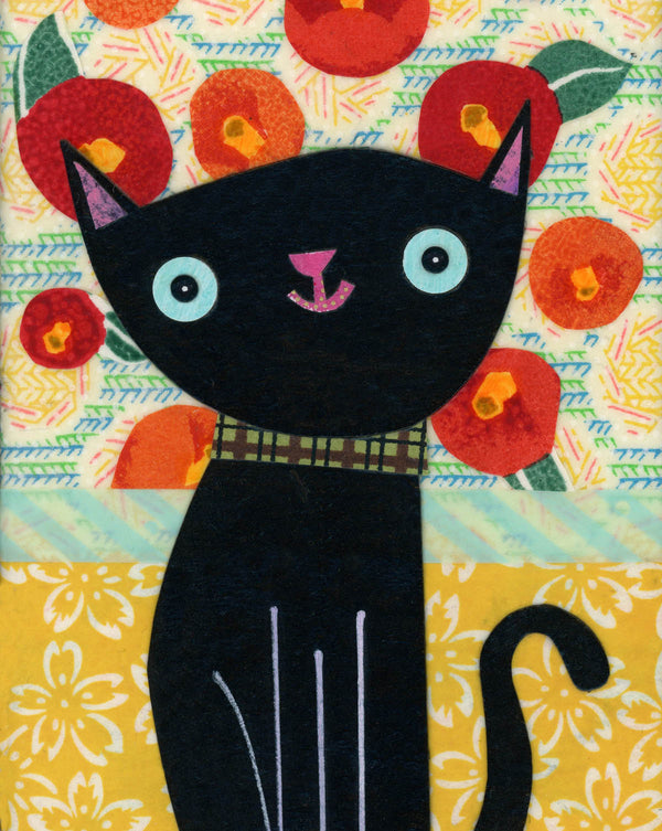 Cat And Poppies Print