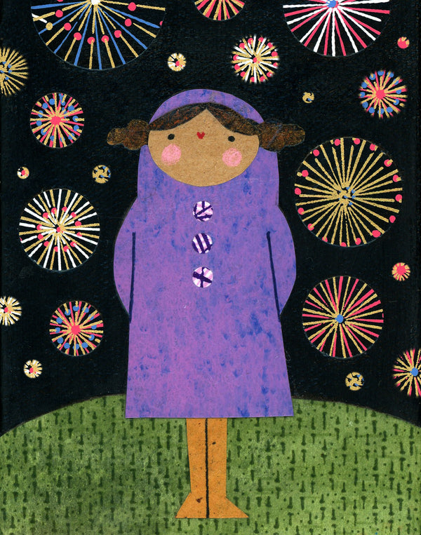 Girl With Fireworks Print
