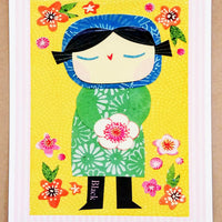 Girl With Bouquet Print