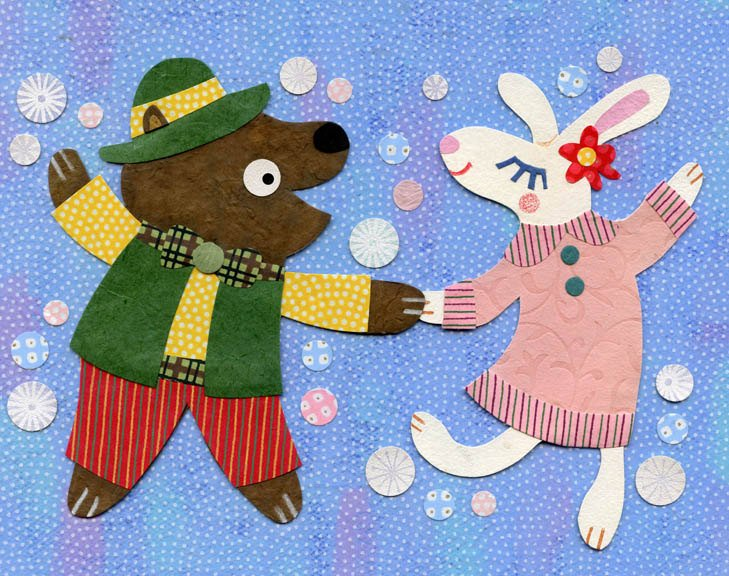 dancing bear and rabbit print