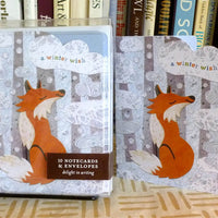 Holiday Winter Fox Note Card Set, Christmas card, holiday card, winter season, holiday cards, fox stationery, snow and fox, wintertime