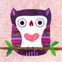 pink and purple owl art for children
