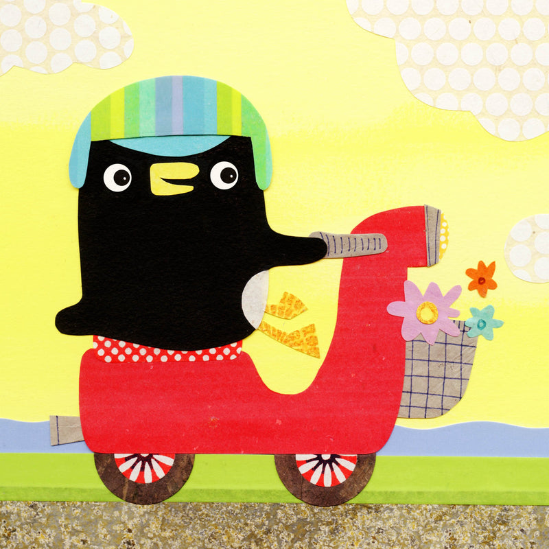 penguin on a scooter art print for children