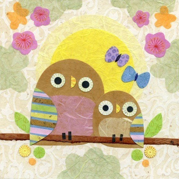 mother child owl art print