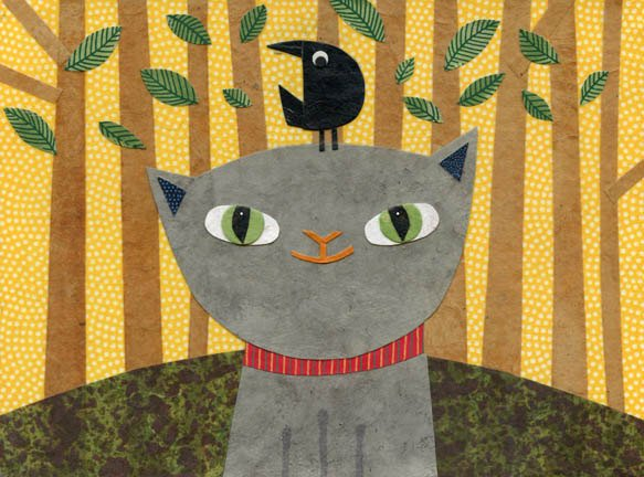 kate endle gray cat art print