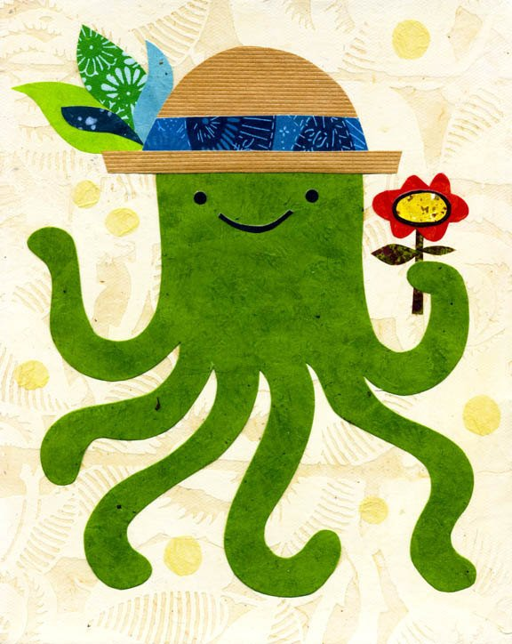 octopus art print for children kate endle