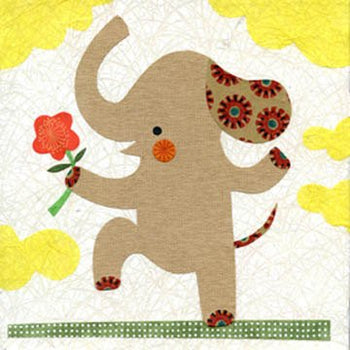 "Ellie With a Flower, 8x8"" elephant print, safari, jungle art kids room, animal prints, wall decor, baby shower, nursery art, collage, flower"