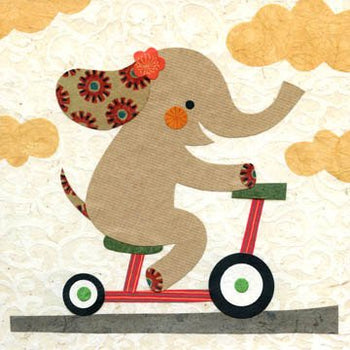 "Ellie Skips, 8x8"" elephant print, wall decor for kids room, jungle, safari, yellow, orange, nursery, baby shower, gift for baby, flower art"