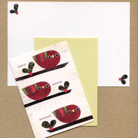 Holiday Red Birds Blank Notecard Set