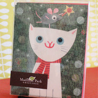Holiday White Cat Notecard Set