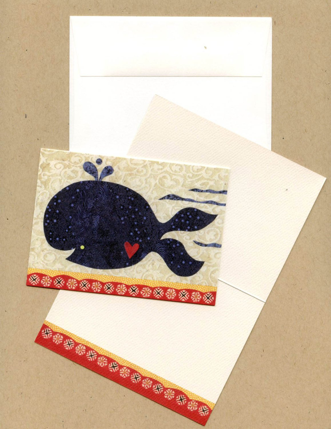fancy whale blank note card set kate endle