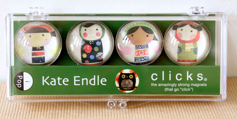 kate endle kokeshi glass click magnets