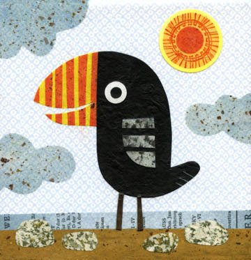 kate endle beach bird collage art