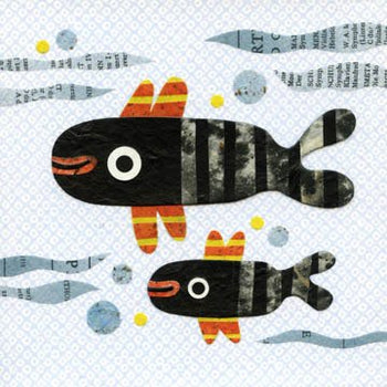 kate endle fish collage art
