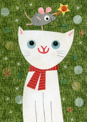 christmas cat and mouse art print