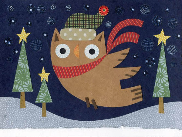 kate endle christmas owl art print