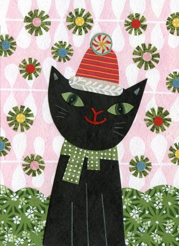 kate endle christmas cat art print