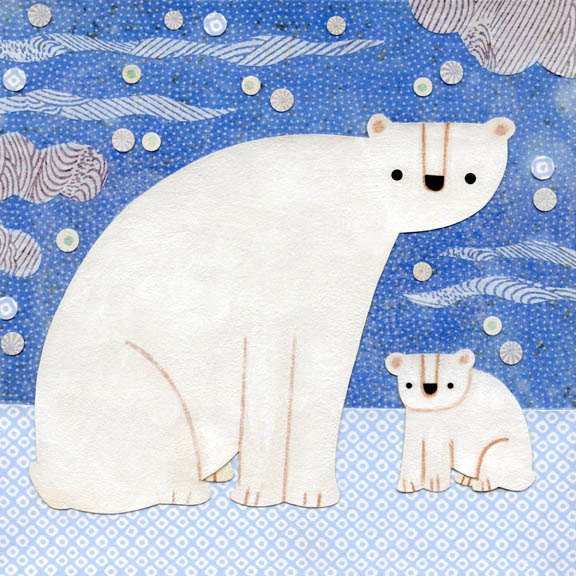 polar bears art print kate endle