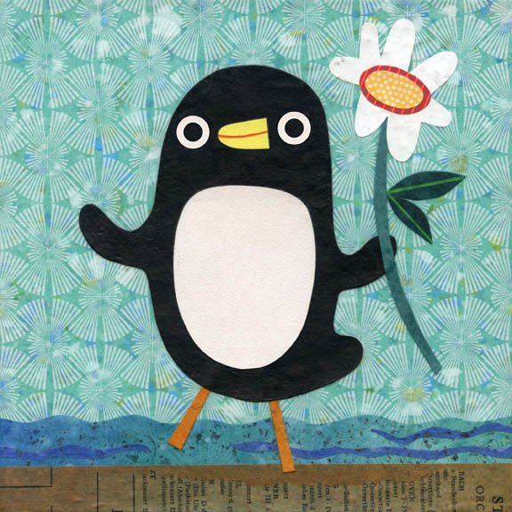 penguin woth a flower art print for kids