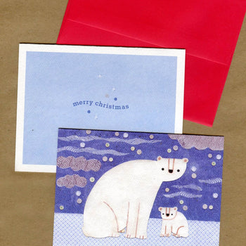 Holiday Polar Bear Notecard Set, christmas cards, stationery, bear cards, polar bear art, holiday cards, artic art, winter cards, bear art