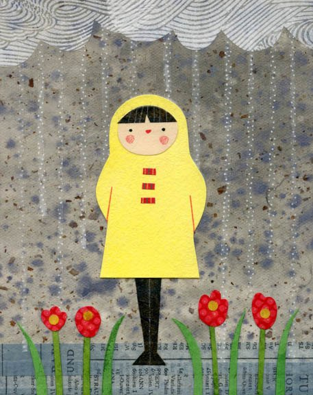 kate endle girl in raincoat art print