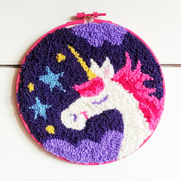 "Pinky Unicorn Punch Needle 8"" Round"