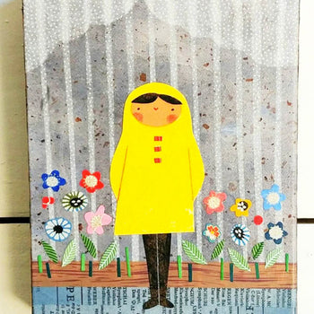 "Girl In Rain and Flowers 6x8"" Original Collage"