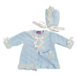 Nini Bow Detail Knitted Coat Blue