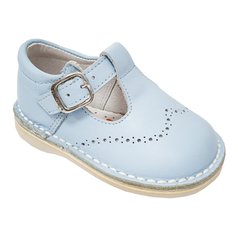 Andanines Brogue Detail T-Bar Shoes Pale Blue