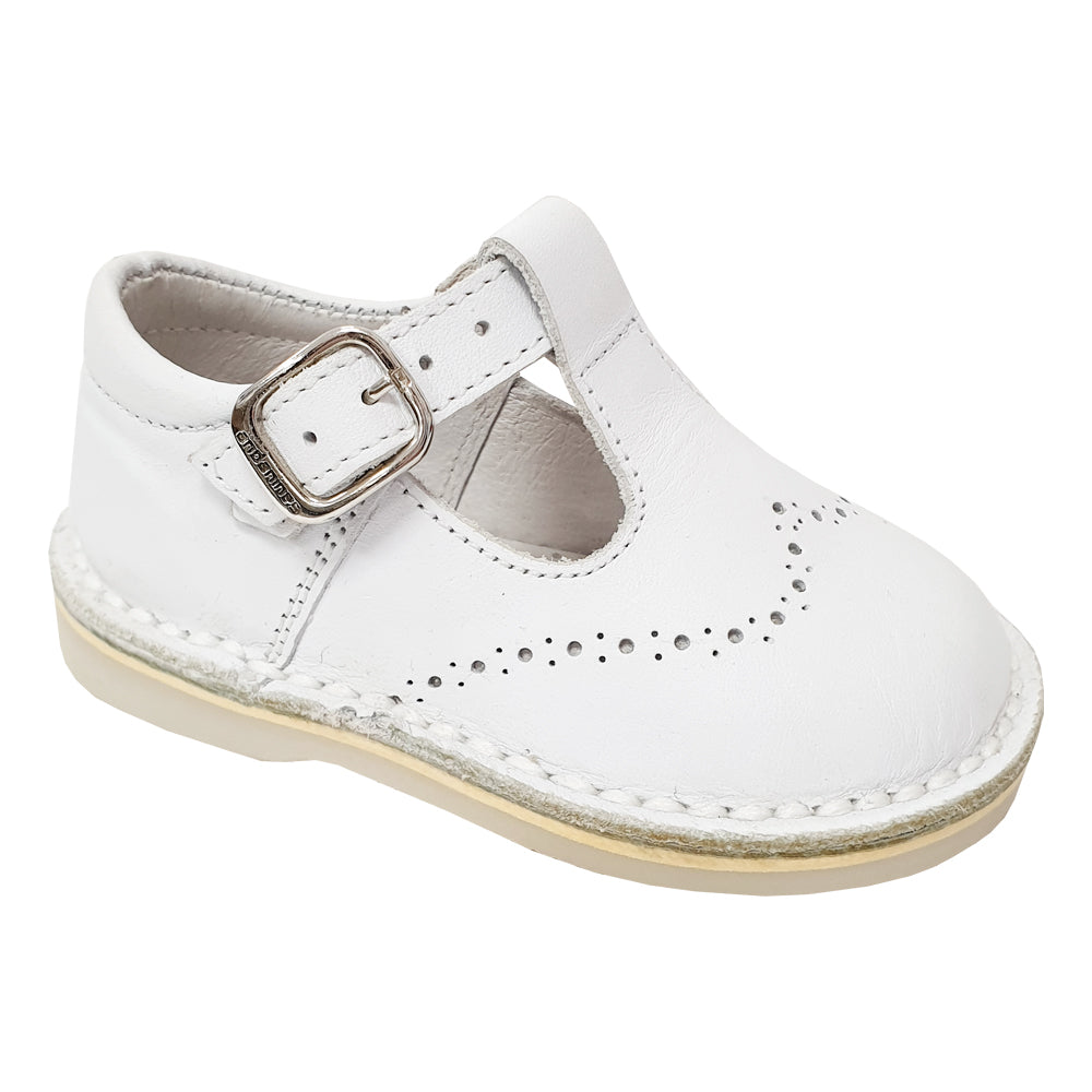 Andanines Brogue Detail T-Bar Shoes White