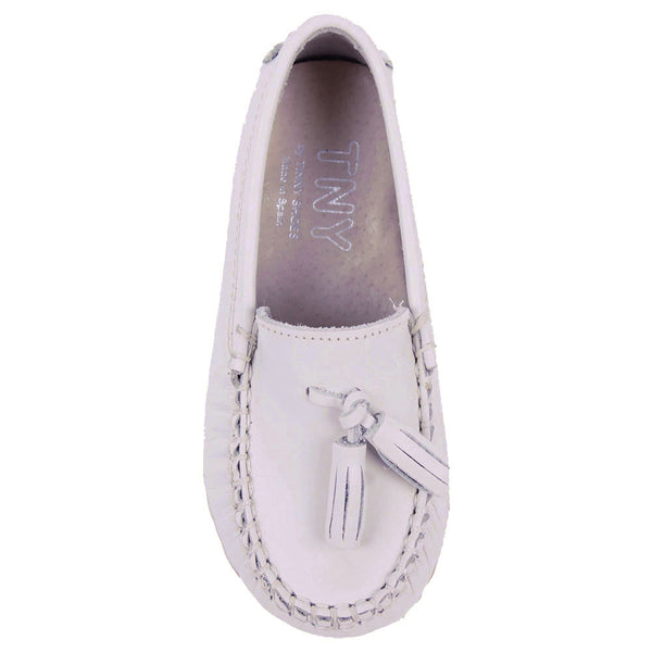 TNY Leather Tassle Loafer Cream