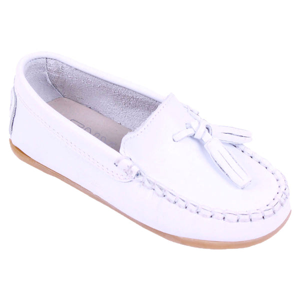 TNY Leather Tassle Loafer White