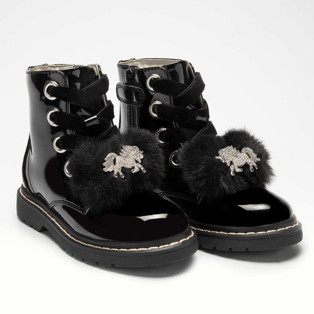 Lelli Kelly Unicorn Pom Boots Black