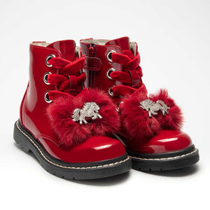 Lelli Kelly Unicorn Pom Boots Red
