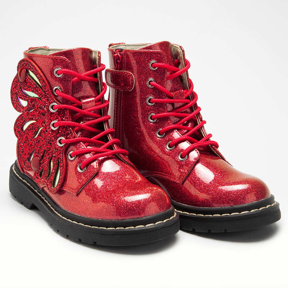 Lelli Kelly Butterfly Boots Red Glitter