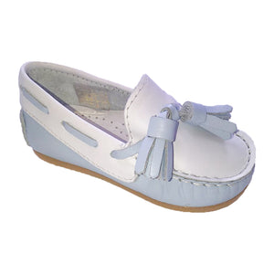 Pretty Originals Leather Tassel Loafer Blue/White