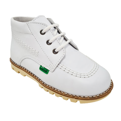 Andanines White Leather Tan Sole