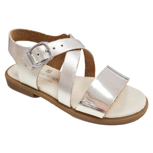 Andanines Leather Cross Strap Gold Sandals