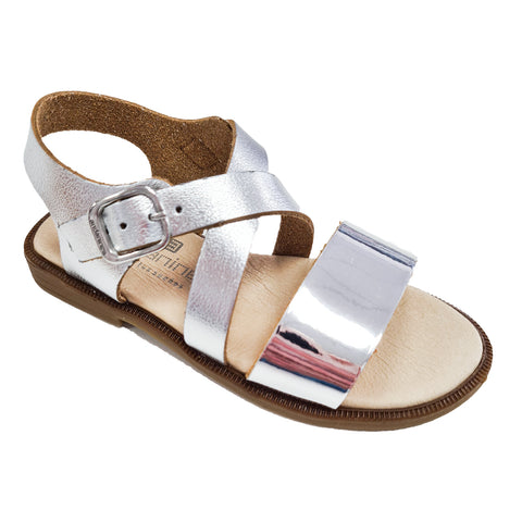 Andanines Leather Cross Strap Silver Sandals