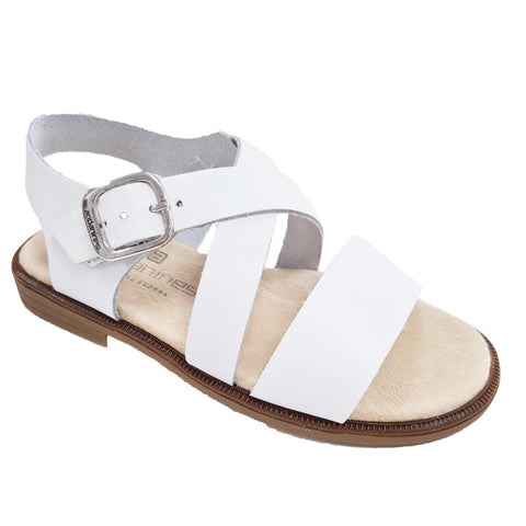 Andanines Leather Cross Strap White Sandals