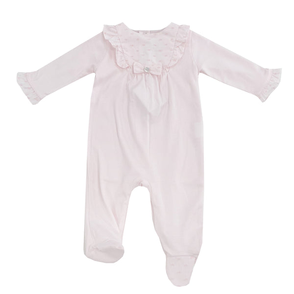 Purete Du Bebe Frill Front Sleepsuit All Pink