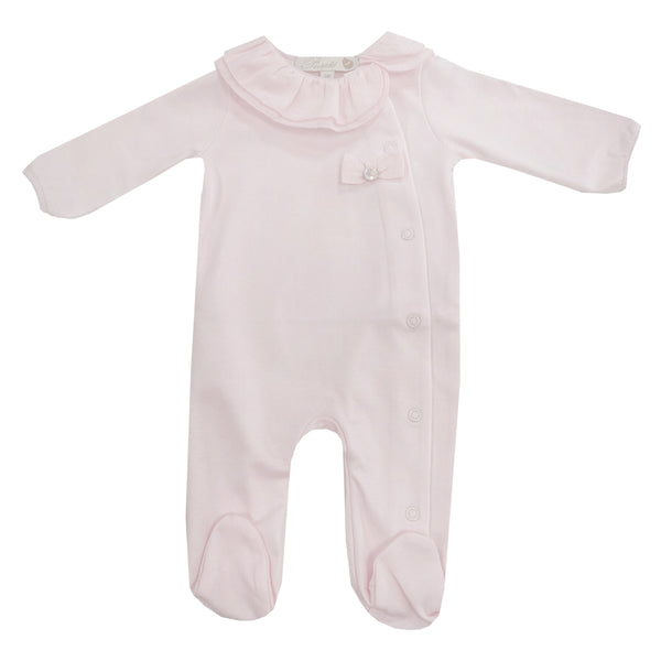 Purete Du Bebe Frill and bow Sleepsuit Pink