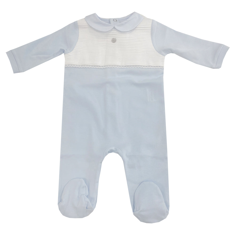 Purete Du Bebe Pleated Front Sleepsuit Blue