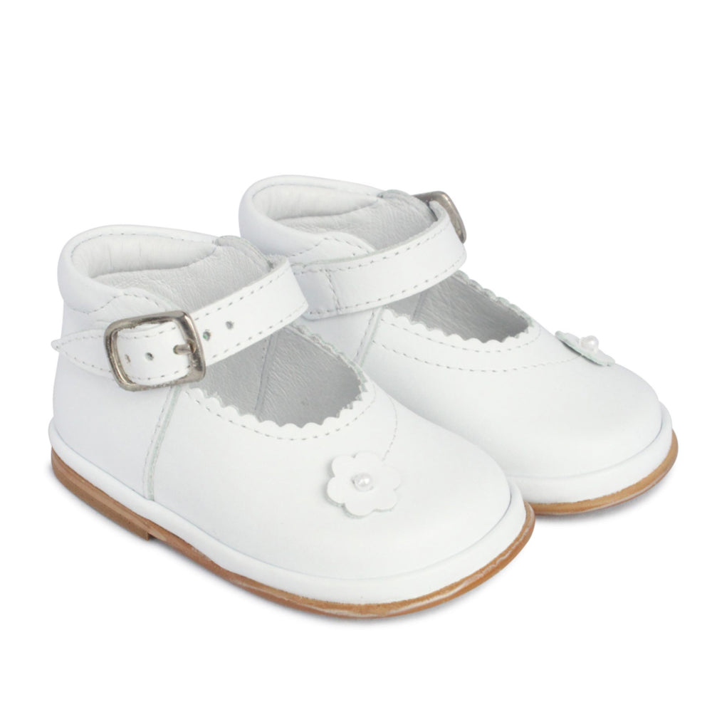Borboleta Ella Flower White Leather